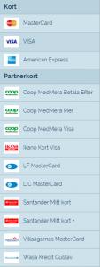 lista kreditkort